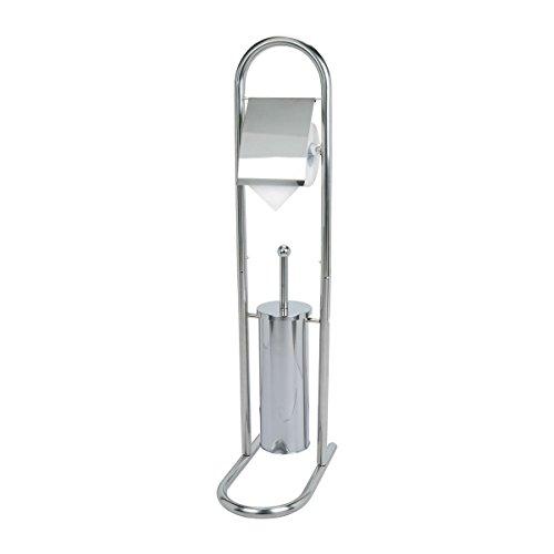 axentia WC Stand Garnitur mit Papierrollenhalter - Toilettenbürste Edelstahl - 2in1 Bürstengarnitur rostfrei - WC Bürste, Behälter & Halter für Toilettenpapier