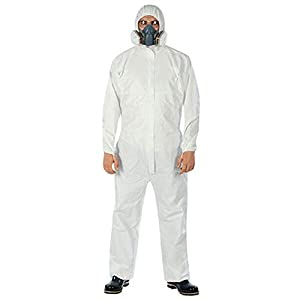 LXDART Disposable Protective Coverall with Hood and Elastic Cuffs White SMS Full Body Isolation Suit Safety Work Gowns Clothing (Large, 5pcs)