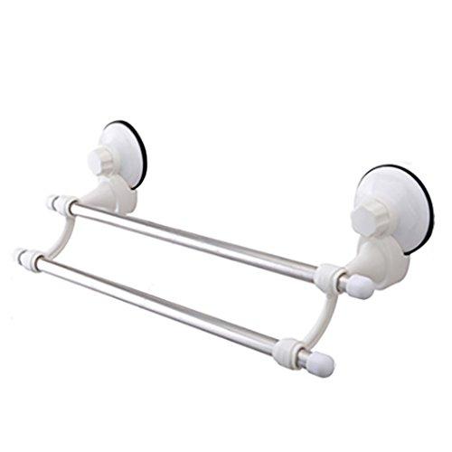 Handdoek Rek Zuignap Dubbel, Badkamer RVS Handdoek Bar, roestvrij staal, Afmetingen: 47cm*16cm*9cm