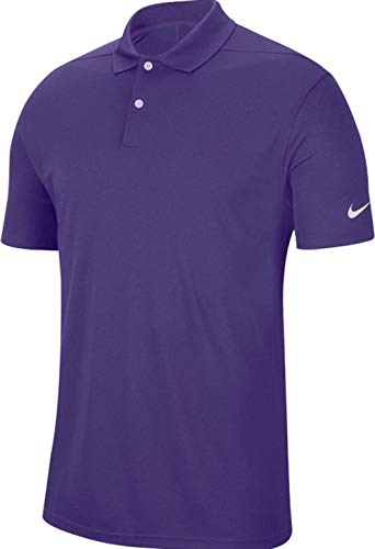 Nike New Dri-Fit Victory Solid Golf Polo Court Purple/White Mens Large