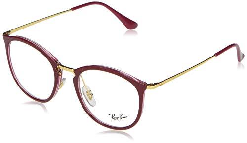 Ray-Ban 0RX7140 Monturas de gafas, Transparente On Top Amaranth, 49 Unisex