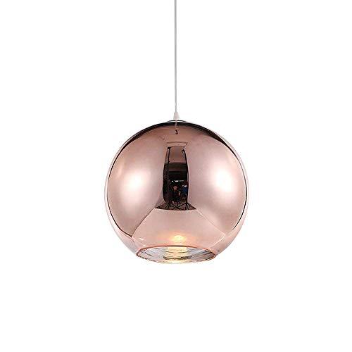 Colgante de luz Lampara de techo Redondo Moderno Hierro antalla de lampara para Dormitorio Bar Isla de cocina Mesa de comedor Escalera sala Loft Candelabro Arana de luces (Oro rosa (cobre), φ20CM)
