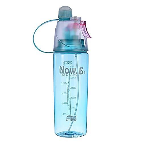 20oz Spray Sports Water Bottle with Spray Mist Leakproof BPA Free Drink Water Bottle Sport Misting Water Bottle Leak Proof Portable Bottle Drinking and Spraying Misting Bottle (Blue)