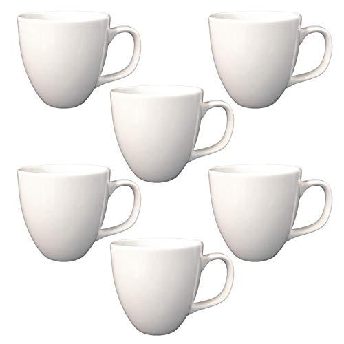 Doriantrade Kaffeebecher 6 Stück Porzellan, Kaffee-Tassen Groß, Kaffee Becher, Porzellantasse Harry 6er Set für Gastro & Haushalt, zum Bedrucken, Bemalen, Weiß, 400ml
