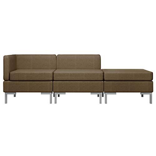 Goliraya Juego de sofás modulares Modernos de 3 Piezas en Tela marrón/Amarillo para Sala de Estar, sofá de Sala de Estar Moderno con 3 Asientos, sofá con península 195x130x65 cm