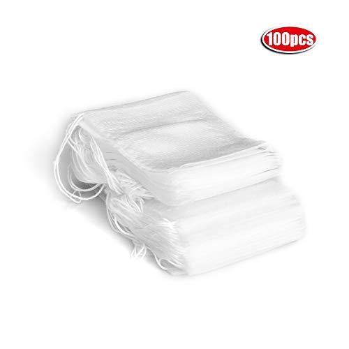 Leeg theezakje, 5,5 x 7 cm wegwerp-vliesfilter om uit te koken, los, met trekkoord voor op kantoor thuis 100 stuks.