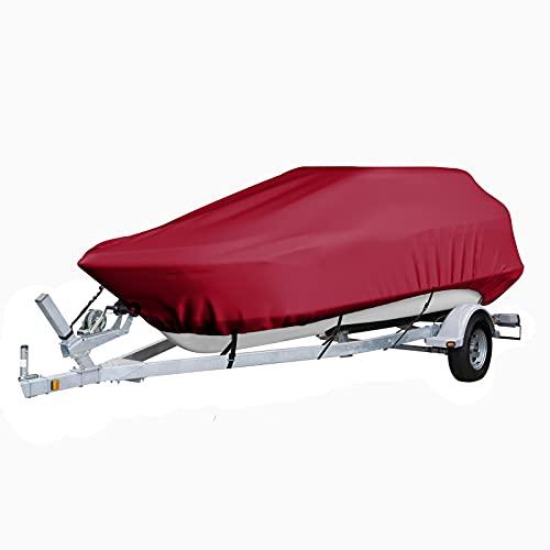FBKPHSS Trailerable Funda de Lancha, 210D Impermeable Funda para Barco Hecho de Tela Oxford 210D Heavy Duty Boat Cover para V Hull Tri-Hull,Rojo,17to19FT