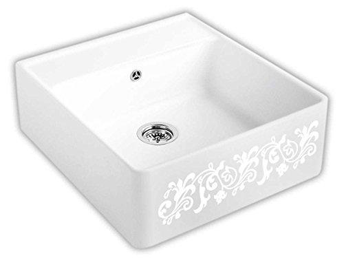 Villeroy & Boch Spülstein Einzelbecken White Pearl Keramik-Spüle Dekor Aufsatz