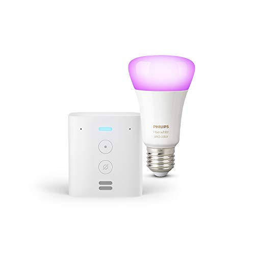 Echo Flex + Philips Hue White & Color Ambience LED-Lampe, kompatibel mit Bluetooth und Zigbee (kein Hub erforderlich), Funktionert mit Alexa