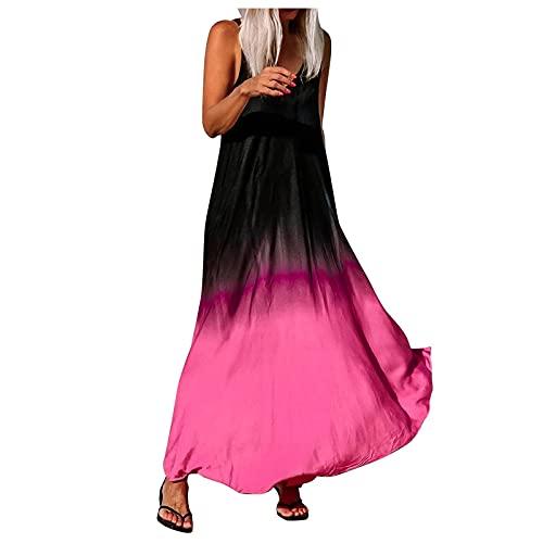 YANFANG Vestido Casual con Estampado De Degradado para Mujer, Cuello En V, Sin Mangas, Empalme, Suelto Playaestido Largo Impreso, Fiesta Boda,Rosa Caliente,XL