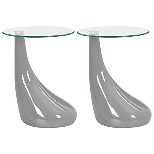 vidaXL 2x Couchtisch Runde Glasplatte Beistelltisch Wohnzimmertisch Glastisch Kaffeetisch Sofatisch Teetisch Telefontisch Tisch Hochglanz-Grau