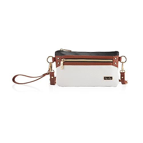 Itzy Ritzy Boss Pouch Wristlet, Crossbody and Belt Bag; Includes Crossbody Strap & Wristlet Strap; Features 6 Card Slots & 2 Zippered Pockets, Coffee & Cream