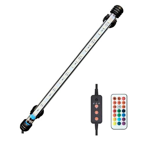 Viilich Luce sommergibile per acquario,con telecomando,impermeabile,colore RGB,luce per acquario,con timer on/off automatico,37 cm