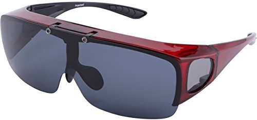 TINHAO Mens Polarized Flip Up Fitover Sunglasses with Mirrored Lenses (Wine Red, black)