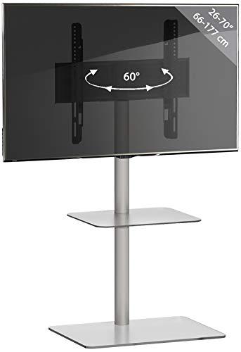 VCM TV Standfuß LED Ständer Fernseh Alu Glas Universal VESA Klarglas