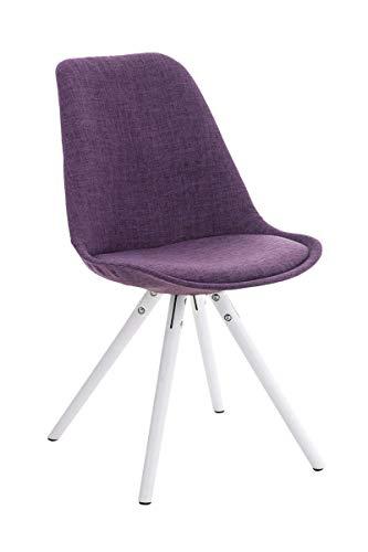 CLP Chaise Retro PEGLEG Tissu Confortable I Chaise Design Dossier Pieds en Bois Forme Ronde I Chaise De Salle A Manger Style Scandinave Violet, piètement: Blanc