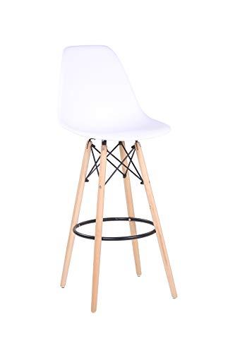 Designer Barhocker Barstuhl Hochstuhl Mila mit Sitzschale aus Kunststoff in weiß