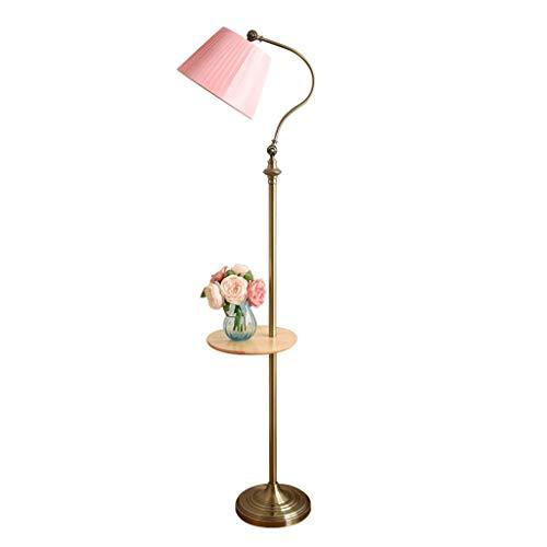Luz de piso Metal Lámpara de Pie con Pantalla Rosa Tela de la Lámpara Plegado, Creativo Habitación Sala Lámpara de Pie con Una Tabla, Oficina y Luz de Lectura Lampara de pié