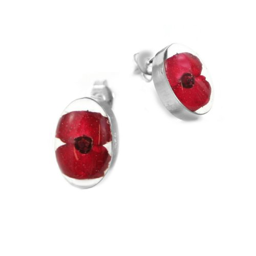 Silver stud Earrings made with real flowers - Poppy - Oval - Includes giftbox