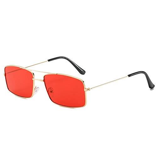 ZZOW Gafas De Sol Rectangulares De Doble Puente con Marco De Metal Retro, Gafas De Sol De Moda para Mujer, Colores Caramelo, Púrpura, Rosa, Azul, para Hombres
