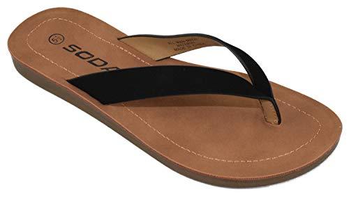 Soda Shoes Women Flip Flops Basic Plain Slippers Thongs Sandals Strap Casual Beach ELLA-S Black 7