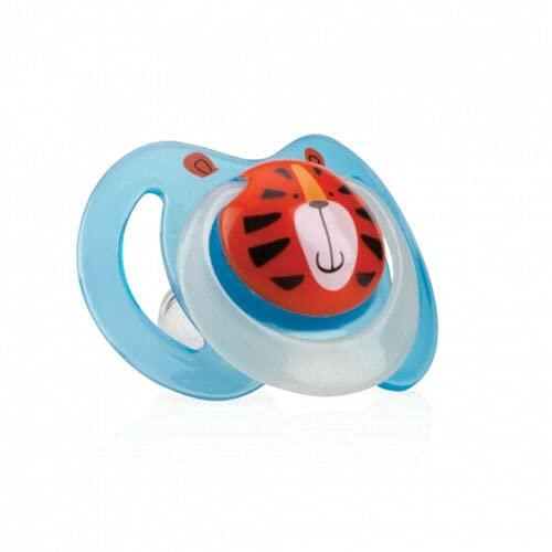 Nuby Schnuller mit Schleife, leuchtet im Dunkeln, oval, BPA-frei, für Babys von 0-6 Monaten, Blau