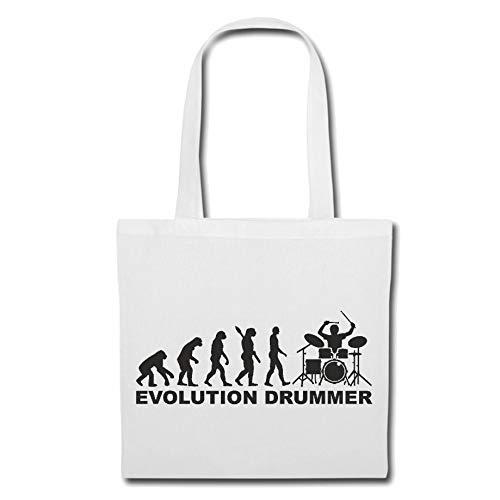 Tasche Umhängetasche Schlagzeuger - Drummer - Rockband - Musikband - GUGGE Musik Einkaufstasche Schulbeutel Turnbeutel in Weiß