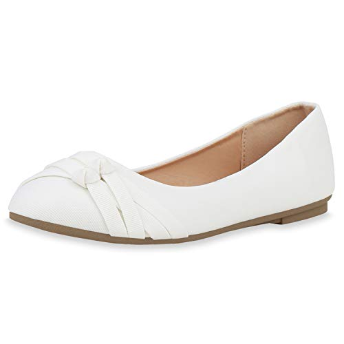 SCARPE VITA Damen Klassische Ballerinas Stoff Schuhe Flats Basic Slipper Slip Ons 181410 Weiss Weiss Total 38