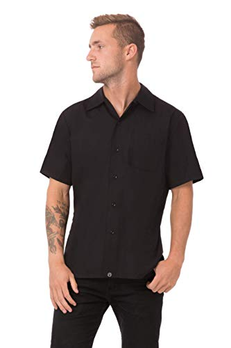 Chef Works Men's Cool Vent Cook Shirt, Black, 2XL