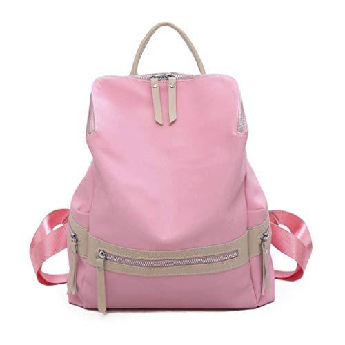 GFDFD Frauen-Oxford-Tuch New Rucksack Wallet Mode Leder Große Reisetasche Damen-Rucksack (Color : Pink)