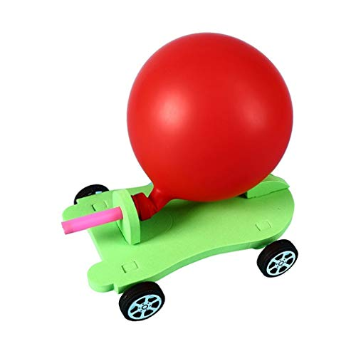 Bascar Luftballon Auto Kinder DIY Car Kit, DIY Power Car Kit Technologie Experiment Bildung Kinderspielzeug Auto Physik Experiment Ballon Rückstoß DIY Wissenschaft Lernspielzeug Kit