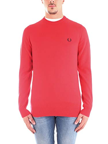 Fred Perry Pullover Classic Crew Neck Jumper Wolle Rot Größe XXL