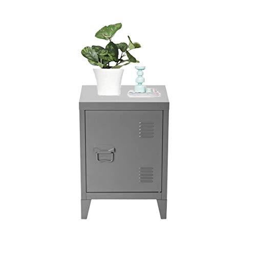 Furnitur-R France Unterschrank, Metall, Vintage, für Sofa, Bücherregal, Maße: 40,5 x 30,5 x 57,5 cm, Grau mit Gravur Solo Dark Grey
