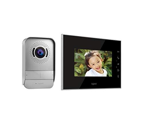 Kit videoportero Legrand 369220, Compuesto de un Monitor de vídeo Interior con Pantalla a Color de 7 Pulgadas e interfono Exterior de visión Nocturna Gran Angular, Acabado Efecto Espejo