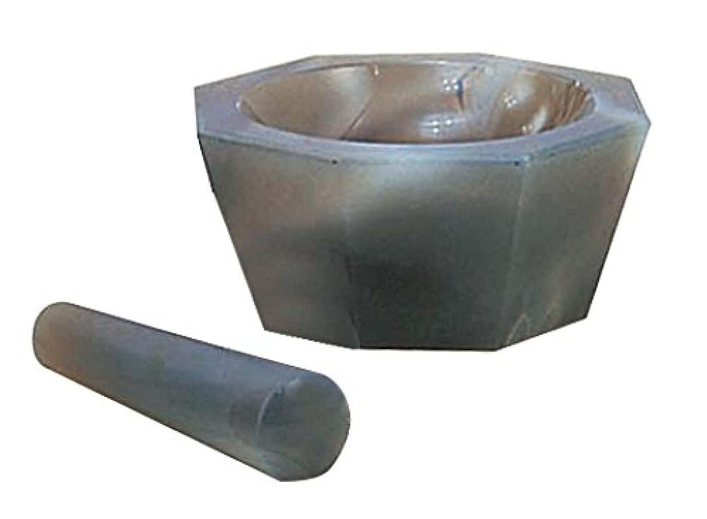 部分寝具リーダーシップ城戸メノウ乳鉢製作所 メノー乳鉢 浅型 65×80×20  乳棒付き /6-546-07