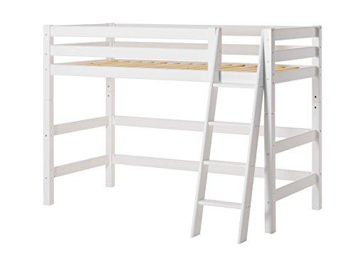 Hoppekids Premium Kiefer massiv inklusiv Lattenrost und SchrägLeiter, Holz, Weiß, 209 x 137 x 150 cm