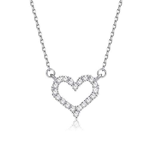 Heart-Shaped 925 Sterling Silver Pendant Necklaces For Women 5A Clear Cubic Zircon Girl Necklace Anniversary Fine Jewelry