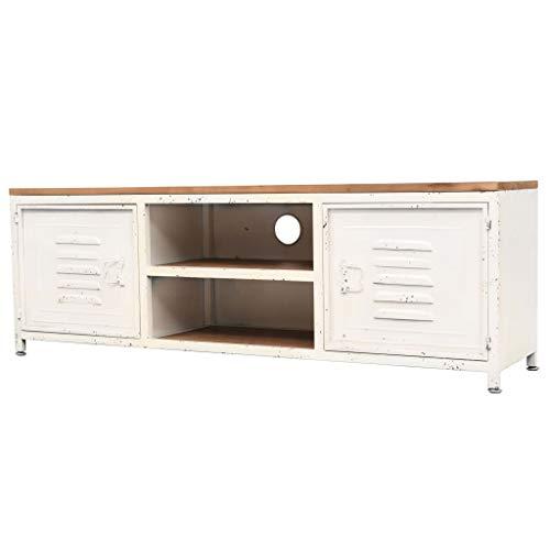 vidaXL TV Schrank mit 2 Regalen 2 Schränken Fernsehtisch Fernsehschrank Lowboard TV Möbel Tisch Board Sideboard HiFi-Schrank 120x30x40cm Weiß