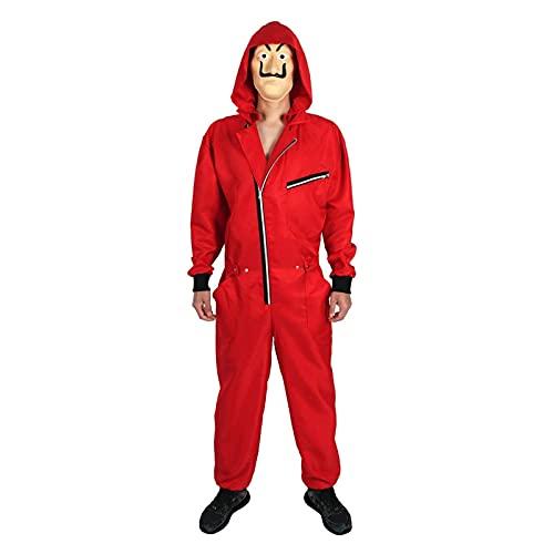 Cremallera para Hombre con Capucha Mono de Papel Casa Cosplay DALY Disfraz (Color : Red2, Tamaño : L)