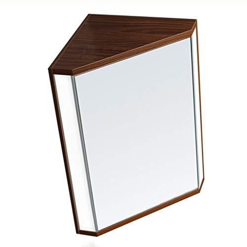 Triangulär spegelskåp med ljus badrum skåp Hörn lagring väggskåp Väggmonterad medicinskåpet (Color : Brown, Size : 47 * 60 * 34cm)