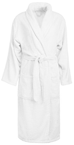 Brandsseller Bademantel Baumwolle für Damen und Herren Unisex Frottee Saunamantel Morgenmantel flauschig weich (L, Weiß)
