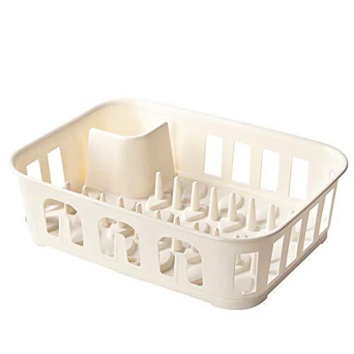 ZTSS Dish Drainer PP-Material, Dish Drying Rack, Dish Stand Drainer Cup Organizer Besteck Aufbewahrungshalter, stabil und langlebig, für Küchenarbeitsplatte, 15,7 * 11,6 * 4,3 Zoll,Weiß