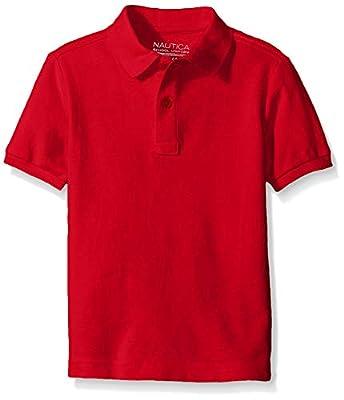 Nautica Boys' Little Boys' Uniform Short Sleeve Pique Polo, Red, Medium/5