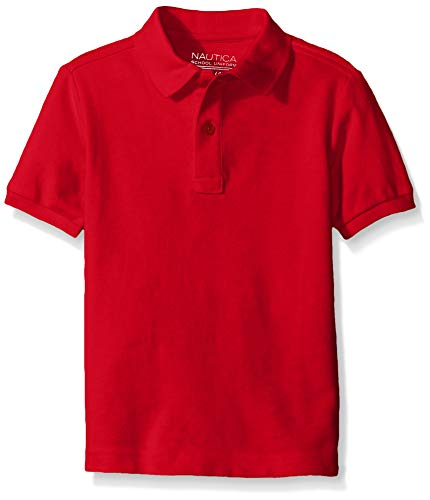 Nautica Little Boys' Uniform Short Sleeve Pique Polo, Red, Small/4