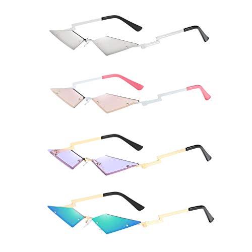 freneci Paquete de 4 Gafas de Sol Unisex Punk Delgadas con Forma de Ojo de Gato, Sin Montura, Gafas UV400