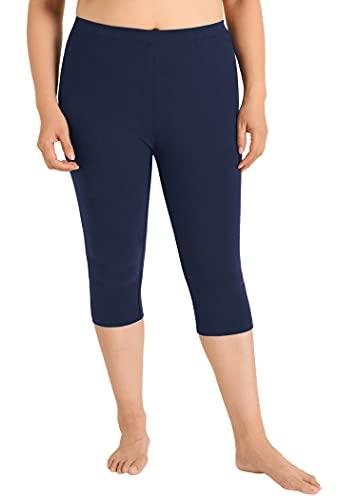 Weintee Women's Plus Size Cotton Capri Leggings 2X Dark Blue