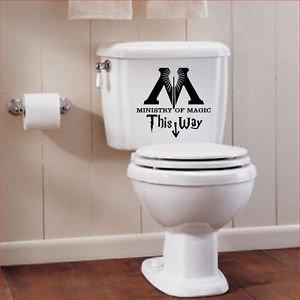 Harry Potiers Cette façon de Ministère de Magic Sticker pour WC (Noir) 25cm