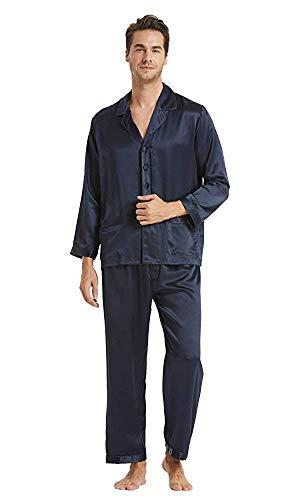 LilySilk Seide Herrenpyjama Set Schlafanzug Nachtwäsche Herren aus Seide von 16 Momme Blau XL Verpackung MEHRWEG