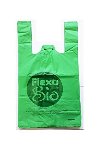 Plaxi - Bolsas biodegradables compostables, 22+ 12x 40 cm,conforme a la normativa EN 13432,para tiendas de alimentos y uso doméstico, para arrancar y con ojal para colgarlas, 100 unidades