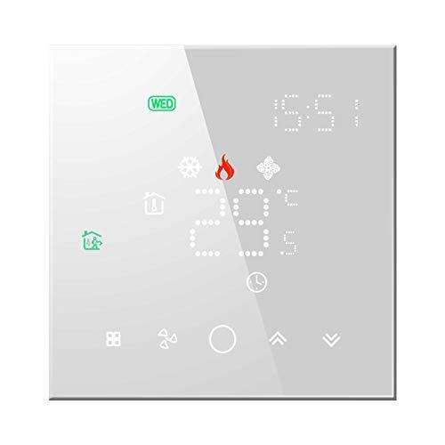 Qiumi Termostato Inteligente Wifi Aire acondicionado Controlador de temperatura con pantalla LCD de 4 tubos,Funciona con Alexa Google Home,La luz de matriz LED protege sus ojos, 95~240V AC